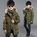 Chicos adolescentes largo abrigo abrigos de invierno 2015 algodón grueso caliente con el falso cuello de piel con capucha para niños niños niño de gran tamaño 8 9 10 11
