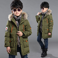 teenage boys long coat winter coats 2015 warm thick cotton with faux fur collar hoodie children's kids child big size 8 9 10 11