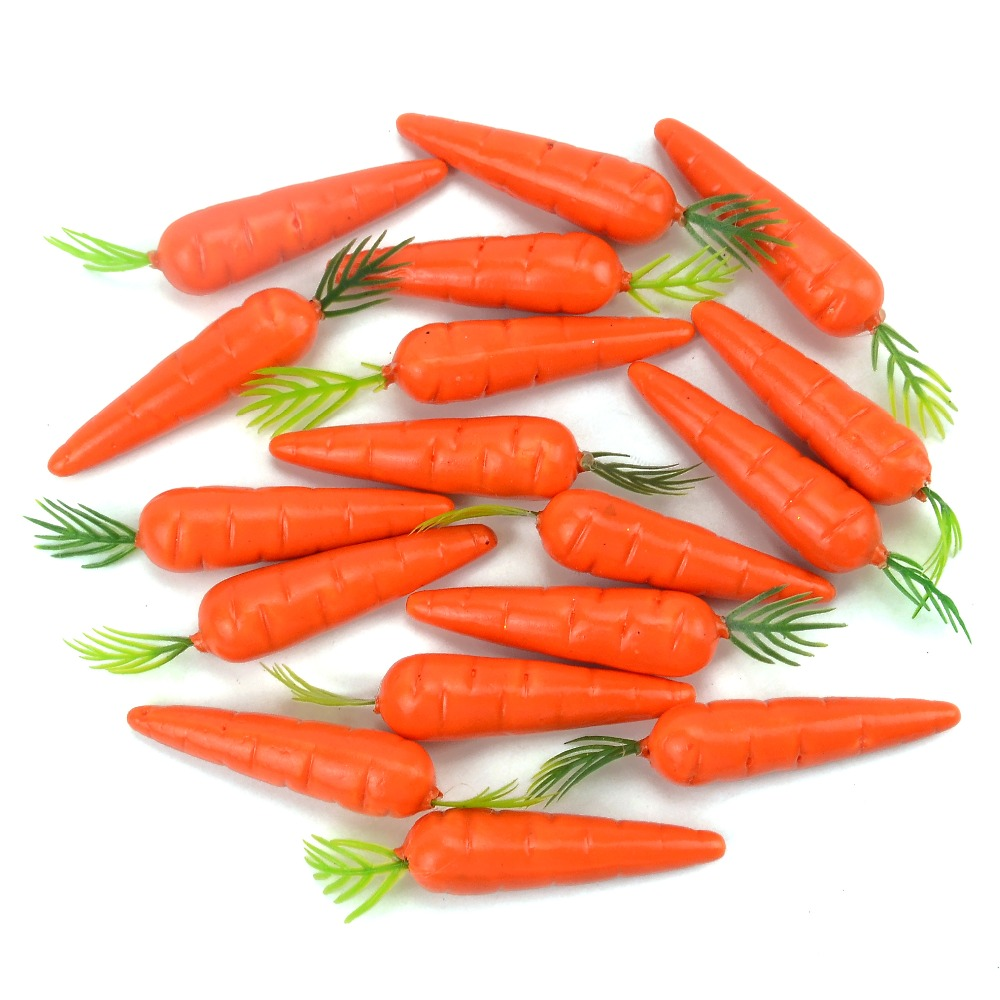 10 Pieces Carrots Mini Artificial Plastic Foam Carrot Fruit And Vegetable Berry Wedding Christmas Family Kitchen Decoratio