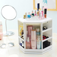 Hoomall 360 Degree Rotating Plastic Storage Box Case Organizer For Cosmetic Makeup Stand Holder Storage Box