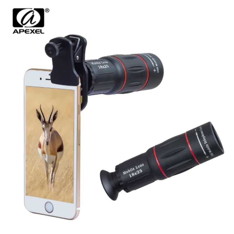 APEXEL Universel 18x25 Monoculaire Zoom HD Optique Téléphone portable Objectif D'observation Enquête 18X téléobjectif avec trépied pour Smartphone