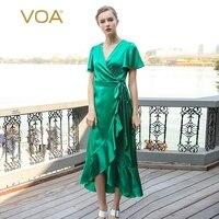 Voa Шелковый Зеленый Для женщин Краткое Платья для женщин Трубы одноцветное Рубашка с короткими рукавами Пояса пол Длина v образным вырезом