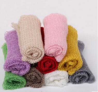 (60*40cm) Hand Knit Mohair Wraps Newborn Photography Wraps Baby Shower Gift Newborn Props