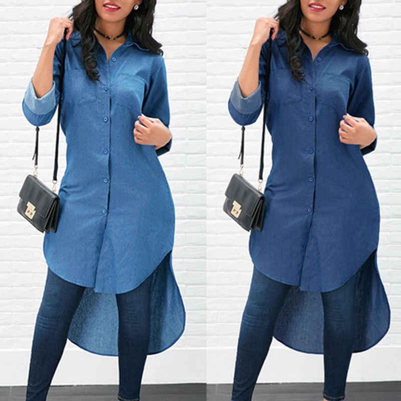 a3060138472 Новый Повседневное Для женщин джинсовая рубашка летние длинные рубашки  свободные длинные Roll-Up рукавом модные