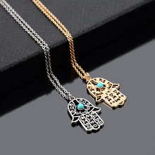 New Hand Pattern Turquoise Pendant 2 Color Pick Necklace Women Chain Chocker Necklaces Jewelry Accessories Gifts Free Shipping