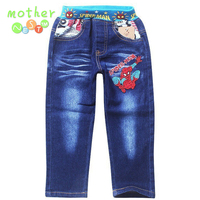 Retail 2015 Spring And Autumn New Fashion Spiderman Kids Boys Leisure Jeans Children Trousers Pants Denim