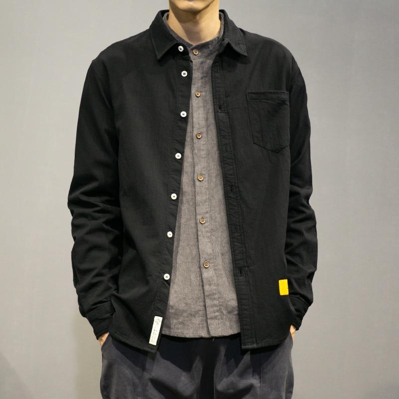 2019 Teenager Fashion Korean Shirt Long Sleeve Black 5XL Streetwear Mens Shirts Casual Slim Fit Harajuku College Clothes
