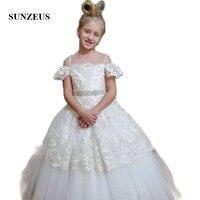 İmparatorluğu Prenses Balo Dantel Çiçek Kız Elbiseler 2018 İlk Communion elbise Boncuklu gelinlik cerimonia bambina SF15