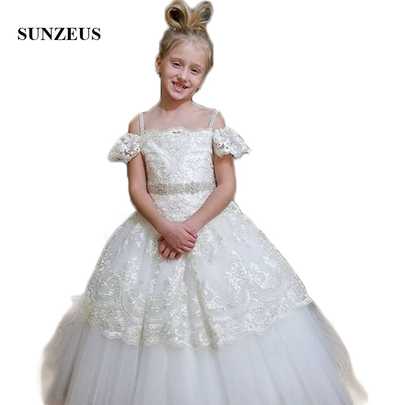 Empire Princess Ball Gown Lace   Flower     Girls     Dresses   2018 First Communion   Dresses   Beaded abiti cerimonia bambina SF15