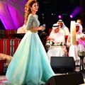 Fares árabe Cantante Myriam Vestidos de la Alfombra Roja 2017 A-line 3/4 Mangas Turquesa Espalda Abierta Famosos de Imitación Vestidos de La Celebridad