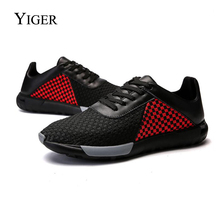 YIGER New Man Summer Casual shoes  Men Sneakers Lace-up hand-woven Leather breathable platform Mesh Shoes 0091