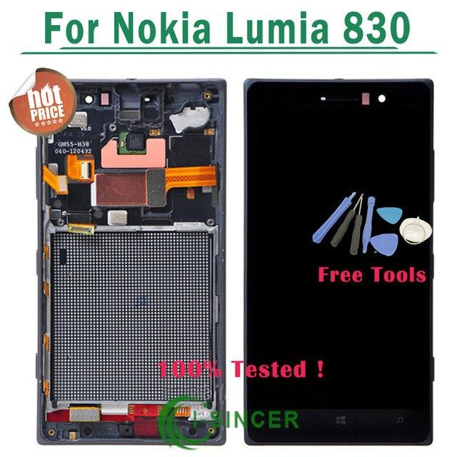 1/PCS Черный Серебристый ЖК-Экран Для Nokia Lumia 830 Touch Screen Digitizer Ассамблеи + Рамка Для Nokia Lumia 830