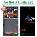 1/pcs plata negro pantalla lcd de pantalla para nokia lumia 830 touch pantalla digitalizador asamblea + frame para nokia lumia 830
