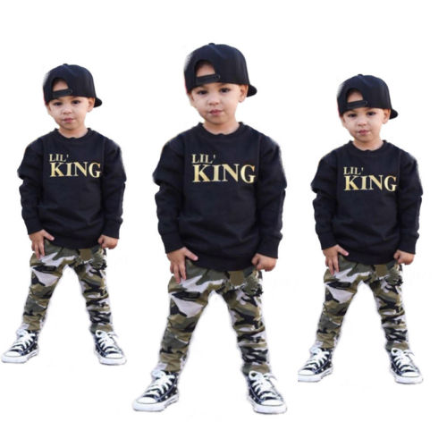 2018 Hot Fashion Infant Kids Baby Boys Clothes LilS KING T Shirt Sweatshirt Tops+Camouflage Pants Outfits Set
