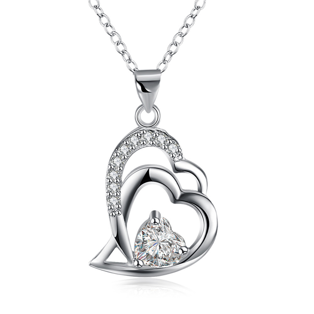 925 sterling silver jewelry double sweet heart with crystal stone pendant necklace women girls promotion fine trendy jewerly
