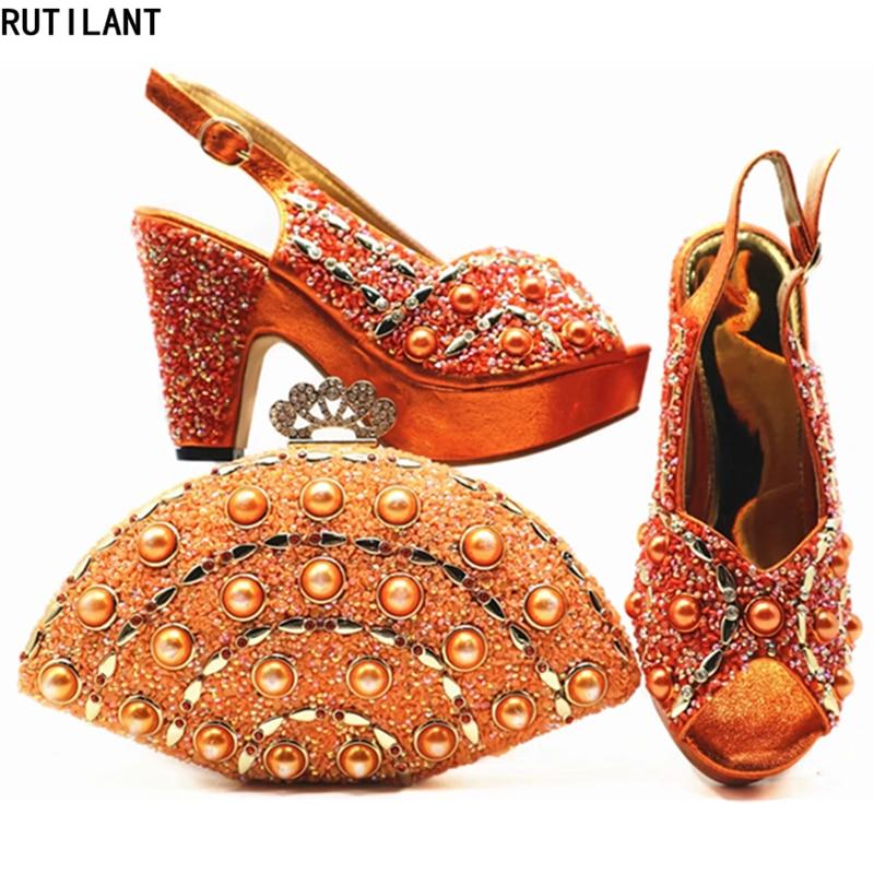 Strass peach De Africaine La Pour Décoré Mode Et sliver Chaussures orange bleu Gold Avec Sac Dans Fête Ensemble Nouveau Femmes Italiennes Uvwqq4P