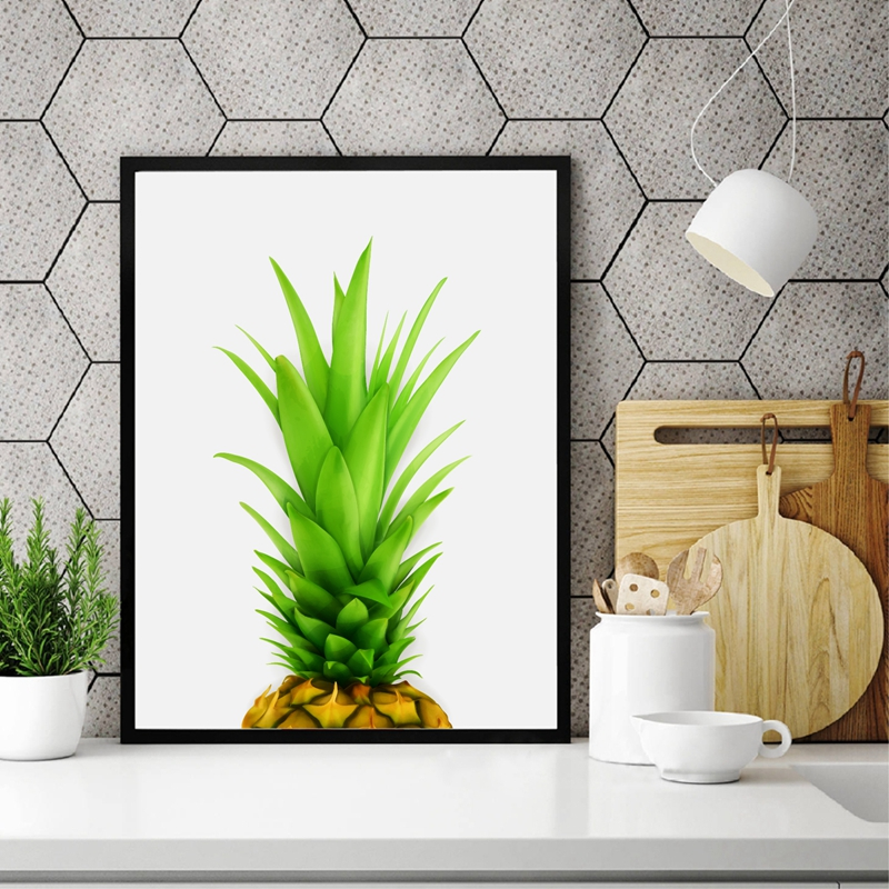 Succulent Fruit Decor Watercolor Pineapple Top Canvas Art Print Poster Home Kitchen Wall Painting
