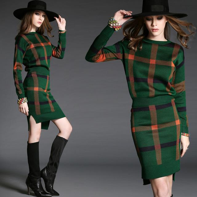 Estilo ocidental de Moda Celebridades Mulheres Terno 2016 Outono longo da luva da Malhas 2 Peça Definir Marca De Alta Qualidade Ternos Saia do Sexo Feminino