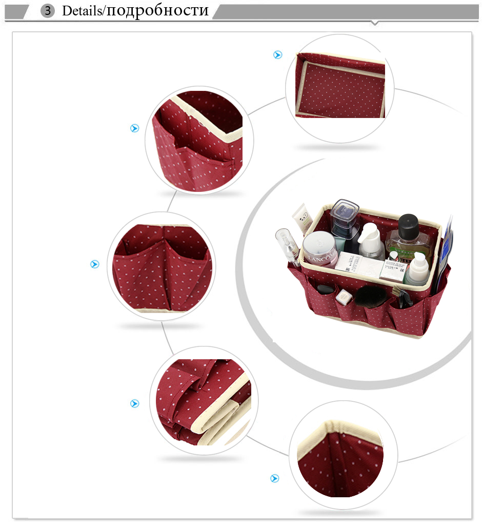 Washable Makeup Organizer with Cute Dots Design and Storage Bins made of Non Woven to Organize Beauty Essentials Neatly in Place 7