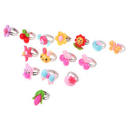 10 шт./партия, детские игрушки, случайные регулируемые Мультяшные Кольца Игрушки для девочек, наряды, аксессуары, вечерние сувениры
