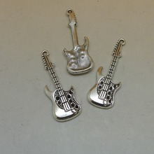 RONGQING 50Pcs/lot Vintage Silver Guitar Charms Musical Instruments Pendant Craft Supplies 36x14mm Punk Style
