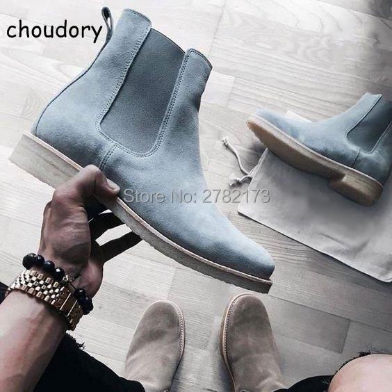 2017 new style men chelsea boots leather Euro37-47 <font><b>Khaki</b></font>/Grey/Brown/Black Dark blue <font><b>shoes</b></font> Slip-on genuine suede man flats <font><b>shoes</b></font>