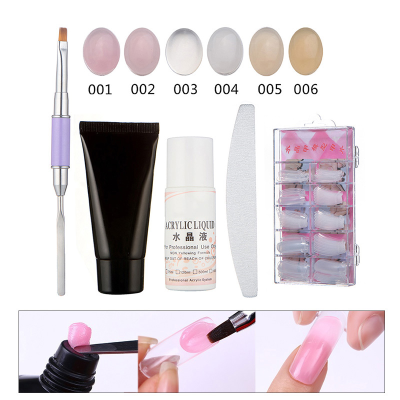 High Quality Nail Art Set Poly Gel Nail Extension Builder Fake Nails Tips Brush Polish Manicure Tools Kit For Nail Art FM88 24 pcs hot sale golden rivet splicing nail art fake toe nails