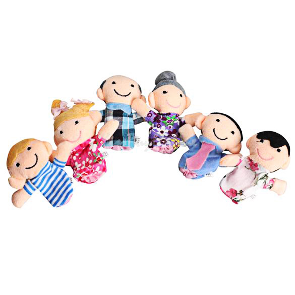 6pcs/lot Hand Puppet Family Finger Puppets Story Kids On Toys Child Toy  Cloth Doll Baby Educational