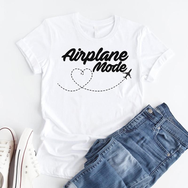 Uçak modu T-shirt kadın şık Wanderlust seyahat Vacay Tshirt Casual yaz tatili Tumblr grafik komik Tee gömlek üst