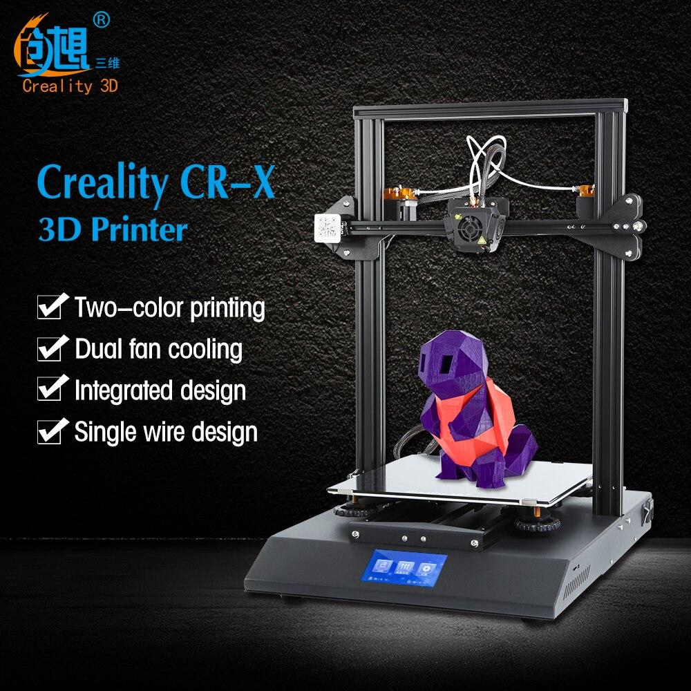 Presale CR-X 3D KIT DIY Impressora de 4.3 Tela Sensível Ao Toque Dual-Bico cor Grande tamanho da impressora Dupla Fã Creality 3D CR-X n 2 kg de filamento
