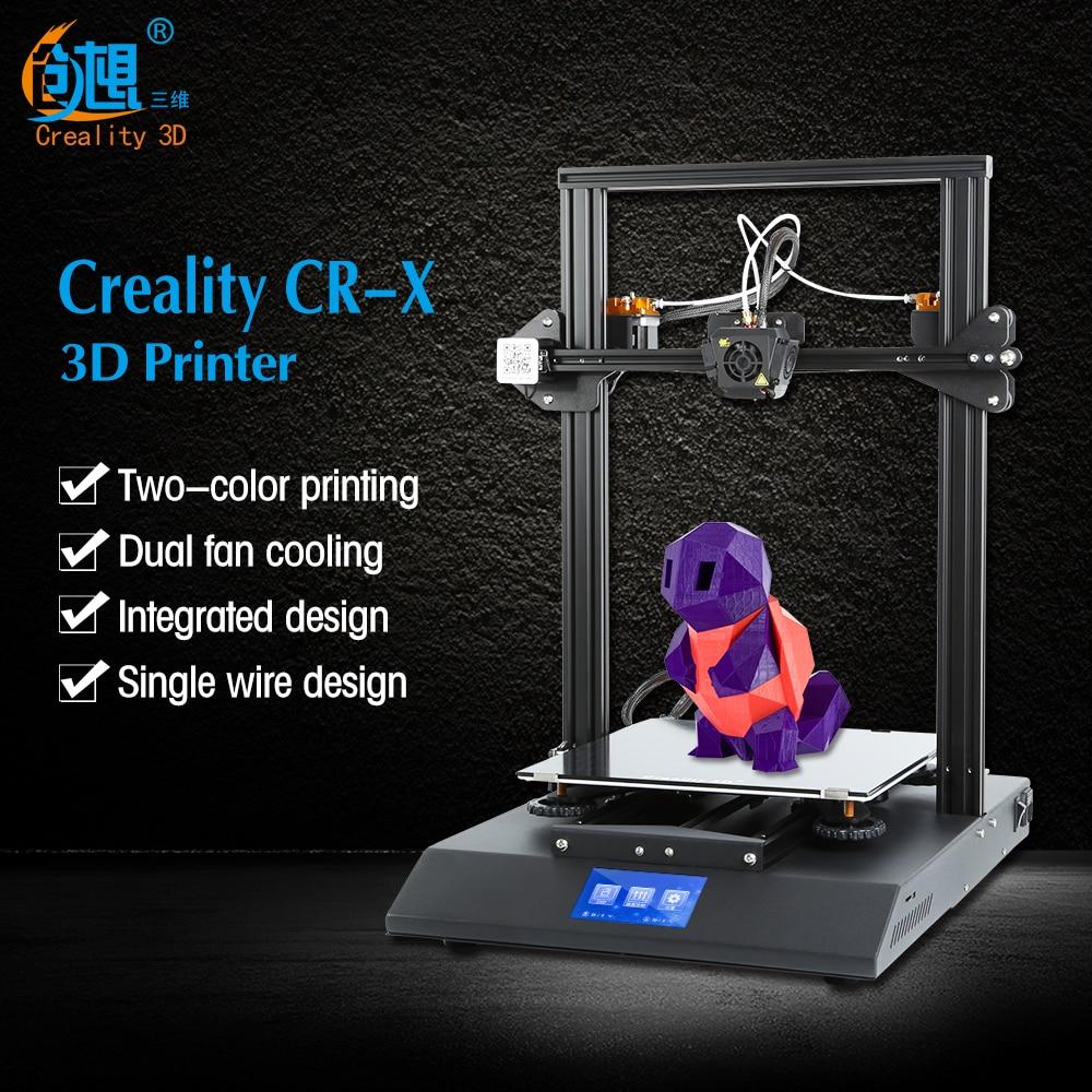 Preventa CR-X 3D DIY KIT de impresora de 4,3 pantalla táctil Dual-color de gran impresora de tamaño de ventilador Dual Creality 3D CR-X n 2 kg filamento