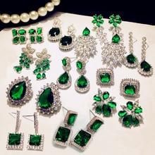 Fashion Vintage Big Water Drop Green Crystal stone Long Earrings Flower Cubic Zirconia women Party Weddings Hanging Earrings