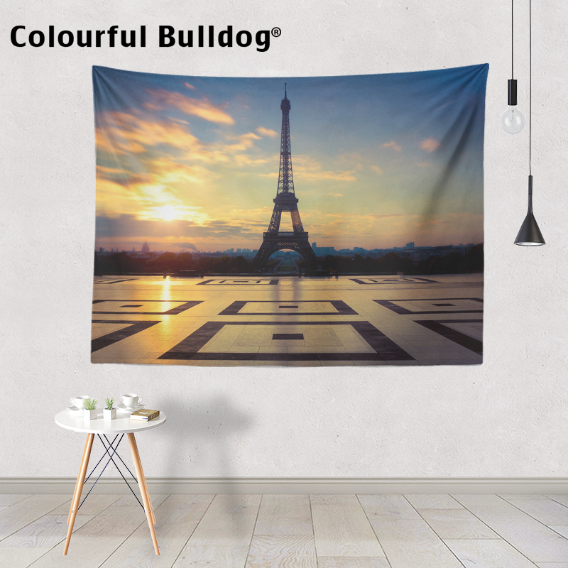 France Tapestry Ferry House Paris Square City Light Landscape Wall Hanging Picnic Home Decoration Blanket 150Cm Polyester Plain