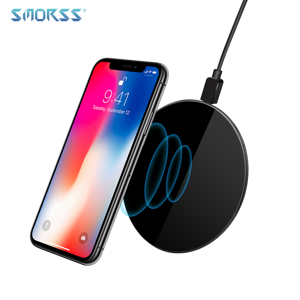SMORSS Qi Wireless Fast Charger 5V-2A Ultra-light Portable Wireless Charging Pad for iPhone Samsung LG Multiple Phone Models