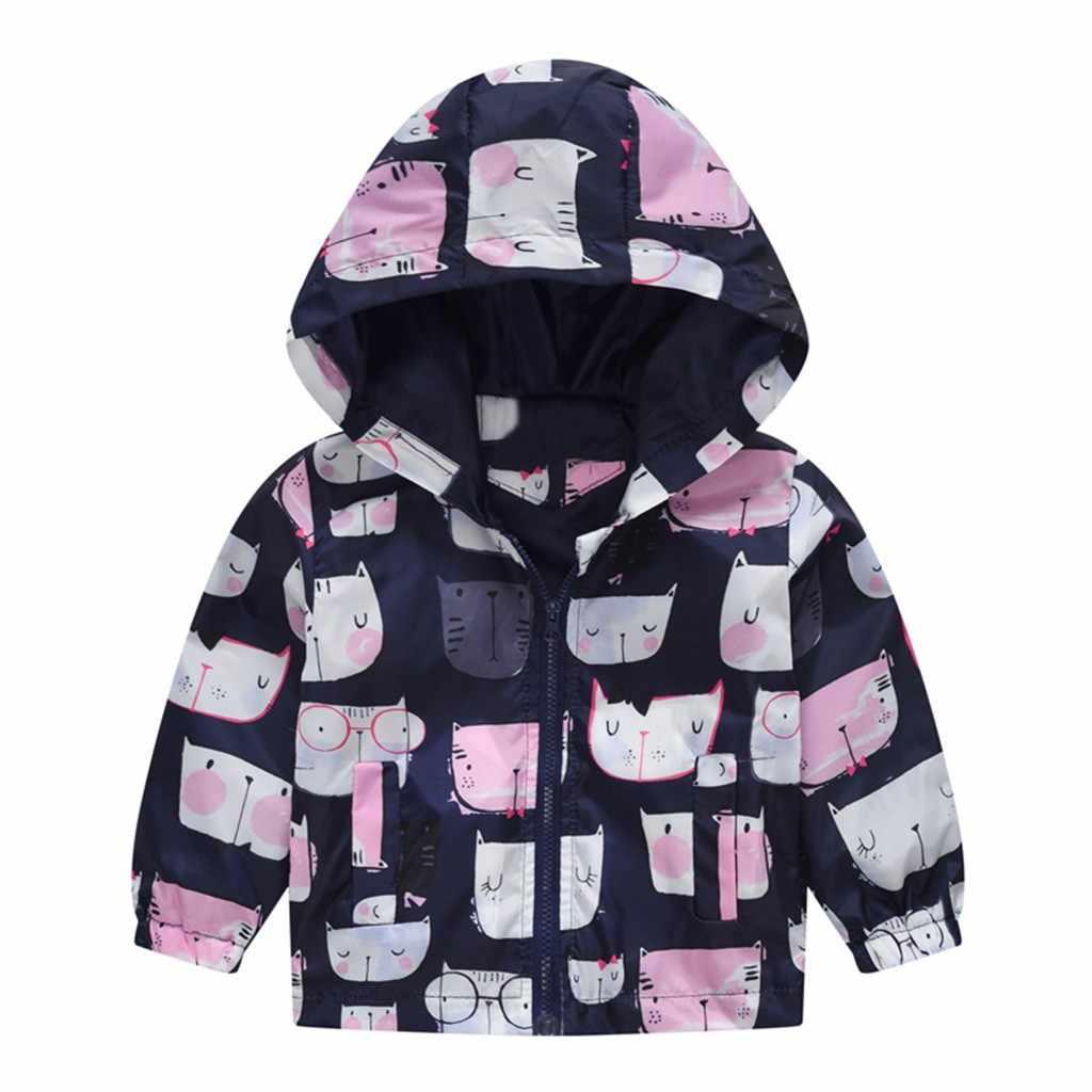2019 春の秋の子供ジャケットウインドブレーカープリントパーカーボーイコート Casaco Menina 花猫ランファンブレザー