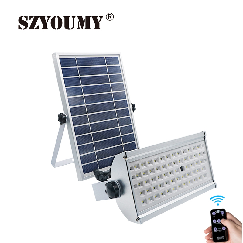 SZYOUMY 65 Led Solar Light Super Bright 1500lm 12W Spotlight Wireless Outdoor Waterproof Garden Solar Powered Lamp With Rremote 2 in 1 solar powered led spotlight super bright outdoor lamp 8 led waterproof type adjustable auto on auto off security light