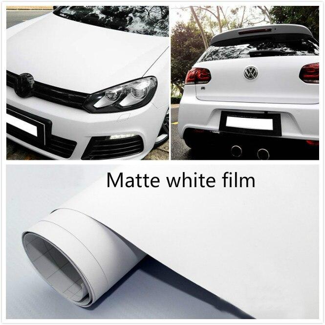 10cm x 152cm Matte Matt white Vinyl Wrap Self Adhesive Air Release Bubble Free Car Styling Membrane Sticker Decal Film