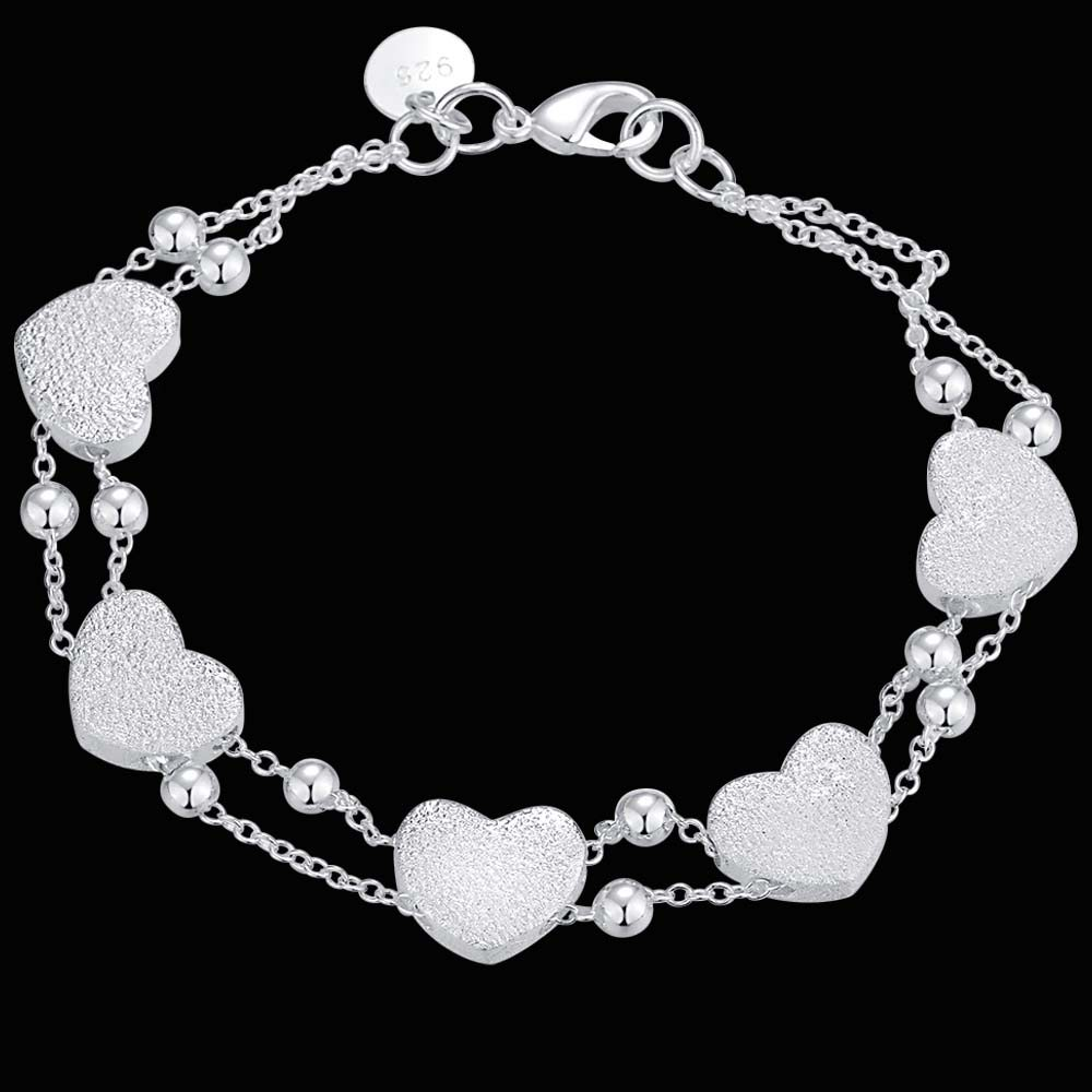 Free Shipping Silver Plated Bracelets For Women,Wholesale Christmas Fashion Silver Jewelry Two lines with sweat/bhwajzda
