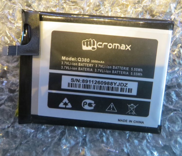 For Q380 MICROMAX Q380 mobile phone battery, MICROMAX Q380 3000MAH Mobile Phone Li-ion Battery Replacement