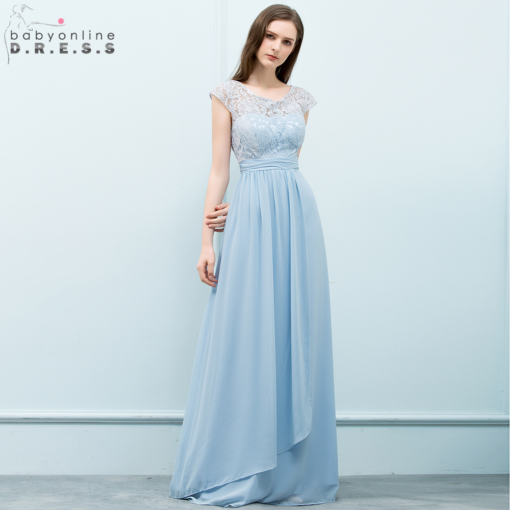 Babyonline Light Blue Chiffon Evening Dresses 2018 Long Formal Party ...