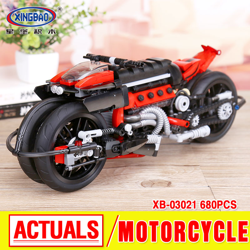 Xingbao 03021 680Pcs Technic Series The Off-road Motorcycle Set Building Blocks Bricks Educational Toys Model Gift boy girl 32 32 dots plastic bricks the island straight crossroad curve green meadow road plate building blocks parts bricks toys diy