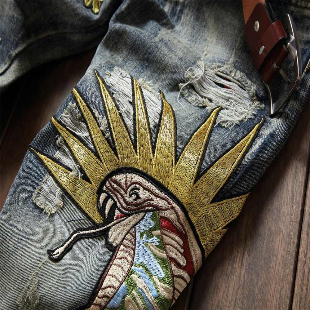 b4fa6087ade ... 2018 new men's jeans flowers of embroidery knees holes jeans men  locomotive badge straight fashion size ...