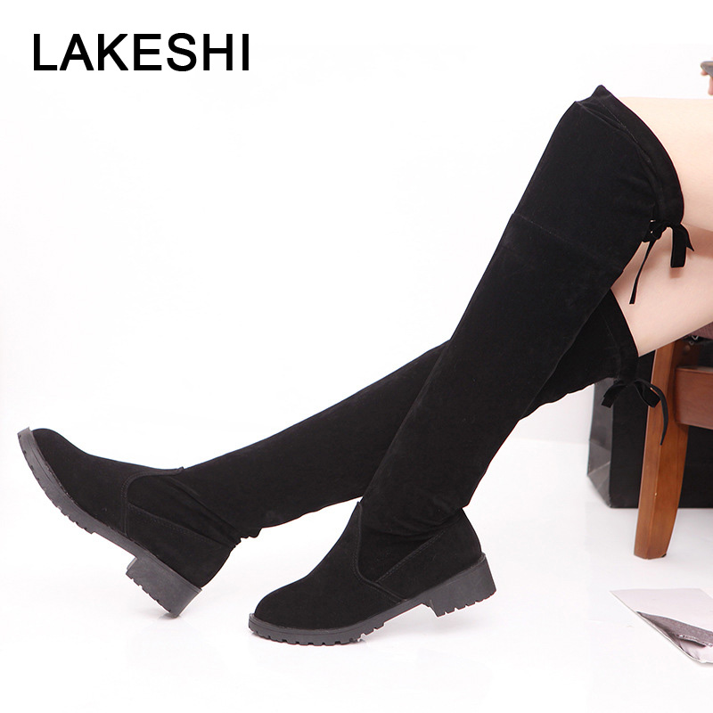 LAKESHI Low Heels Women Boots Over The Knee Boots Woman 2018 Stretch Fabric Knee High Boots Female Autumn Women Shoe Botas Mujer stretch fabric over the knee boots sexy back zipper low heels shoes women round toe black khaki long boots elastic botas mujer