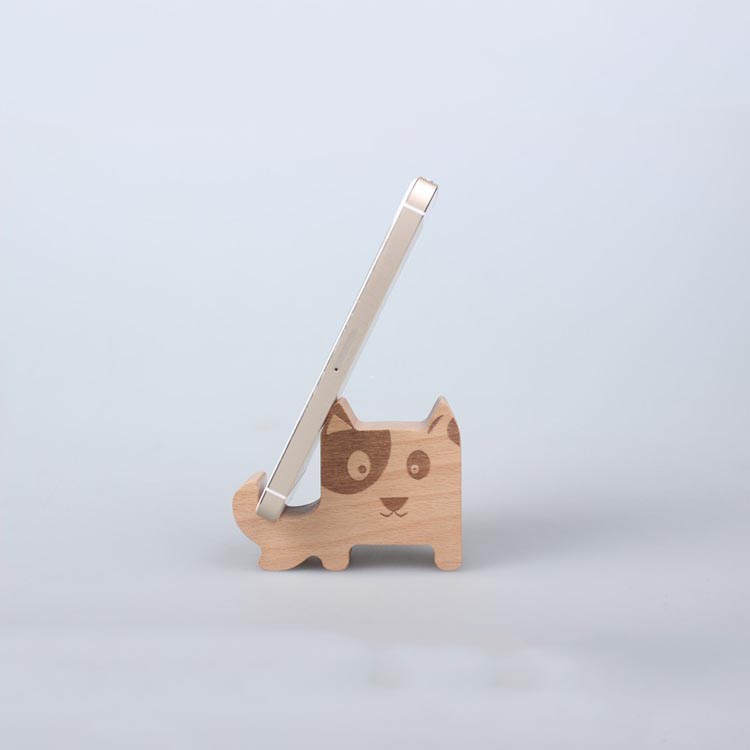 Universal Beech Wood Mobile Phone Stand Desk Phone Holder For iPhone 5s Sony Nokia HTC Cellphone Tablet Stand Cute Puppy Shape