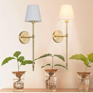 Image 5 - 2 מנורת נחושת מנורת קיר מודרני מינימליסטי סלון מרפסת חדר שינה מנורה שליד המיטה זרוע אחת מעבר אמריקאי נחושת קיר אור
