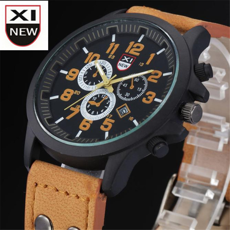 JImshop New Fashion XINEW Brand Vintage Men's Waterproof Date Leather Strap Sport Quartz Army Watches Dial WristWatch Relojes new forcummins insite date unlock proramm