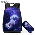 Детский Школьный рюкзак с пеналом с принтом лисы, школьные сумки для мальчиков и девочек, школьный рюкзак + Сумка-карандаш, обучающая комбинация - фото