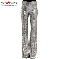 SEBOWEL Long Wide Leg Sequins Pants Woman Glitter Silver Black High Waist Trousers for Female Party Dance Flared Legs Pants 2019