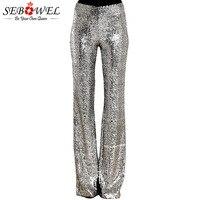 SEBOWEL Long Wide Leg Sequins Pants Woman Glitter Silver Black High Waist Trousers for Female Party Dance Flared Legs Pants 2019