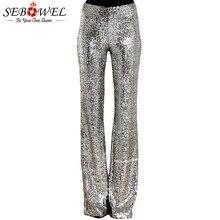 SEBOWEL długi, szeroki nogawek cekinowe spodnie kobieta brokatowe srebrne czarne spodnie z wysokim stanem dla kobiet Party Dance Flared nogi spodnie 2019
